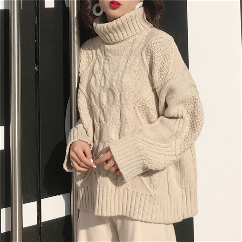 Twist Fashion New 2019 Loose Thick Turtleneck Sueter Mujer Lace Female Knitted Sweater Pullover Solid Pull Femme Jumper Women