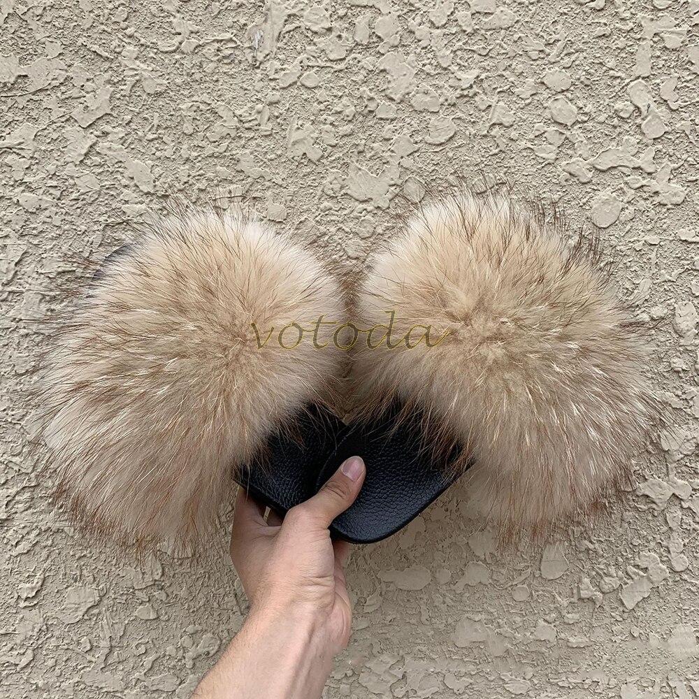 de raposa slides macio casa peludo sandálias