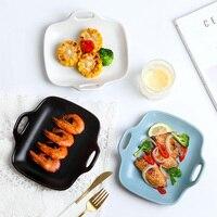 Placa nordic criativo irregular casa cerâmica assadeira prato net prato vermelho jantar conjunto de pratos ocidentais