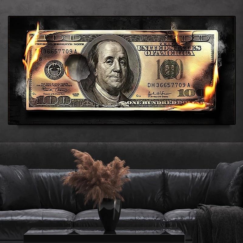 Brûlant Dollar Art moderne toile inspirant affiches et impressions créatif 100 Dollars image salon mur décor peinture