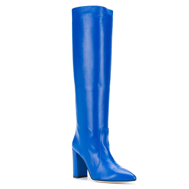 Winter Women's Fashion Long Boot Large Size Thick High Heel Knee Boots Pure Blue Genuine Leather Rome Shoes Woman Botas Mujer
