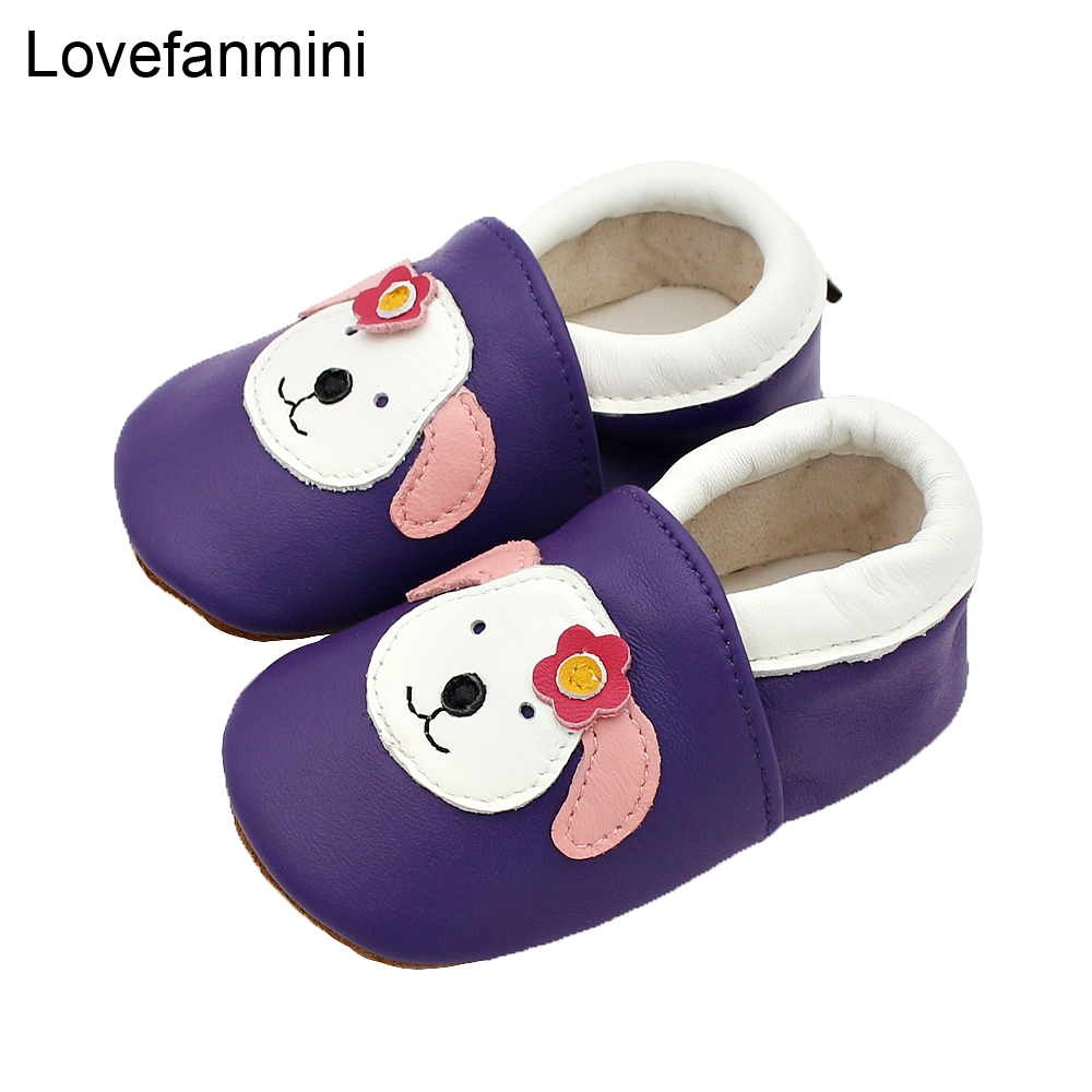 Baby Shoes Soft Genuine Sheepskin Leather Baby Boys Girls Infant Toddler Moccasins Shoes Slippers First Walkers Non-slip Dog 123