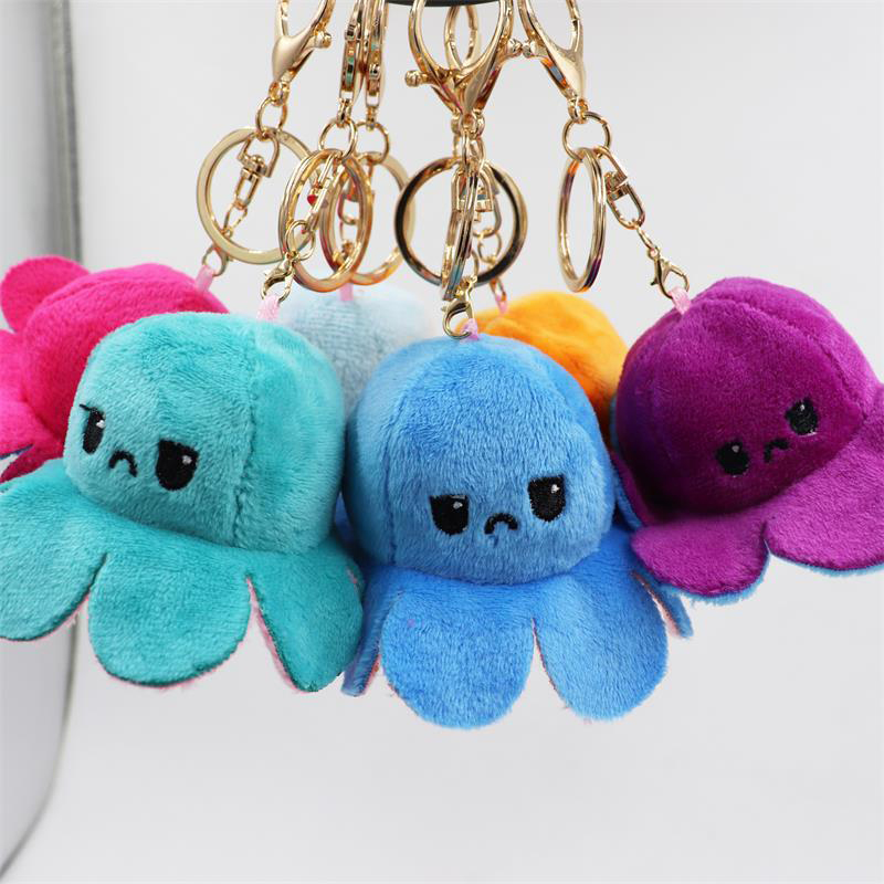 1PC New Fashion double -sided Reversable Octopus Keychain and Bag Pendant Plush Animal Keychains gift New Trend