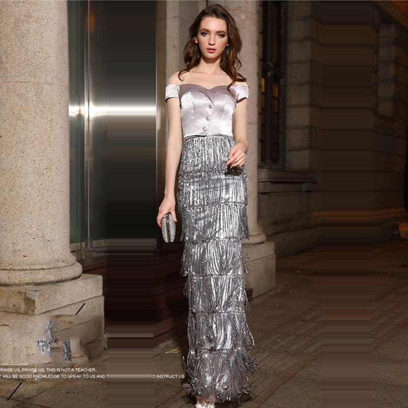 Evening Dress Short Sleeve Women Party Dresses 2019 Sweetheart Sequin Robe De Soiree Off The Shoulder Formal Evening Gowns F203