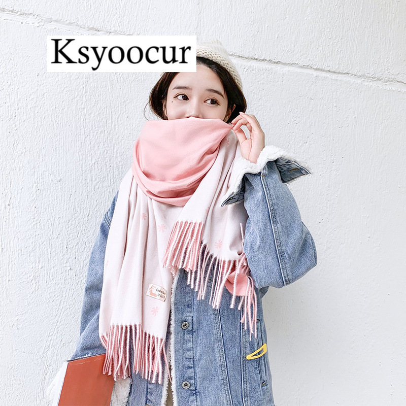 Size 200*70cm, 2020 New Autumn/Winter Long Section Cashmere Fashion Scarf Women Warm Shawls And Scarves Brand Ksyoocur E09