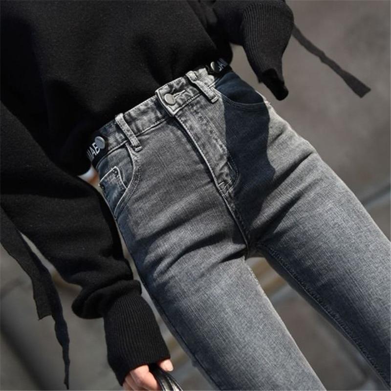 Autumn Vintage Black Elastic Skinny Denim Pants Women High Waist Stretch Slim Leggings jeans Female Casual Gray Pencil Pants 6