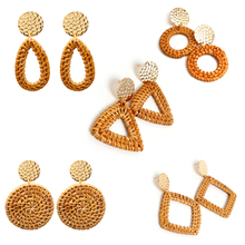 5 Pairs/ Set New Handmade Rattan Statement Earrings Gold Round Sequins Geometric Pendant Dangle for Women