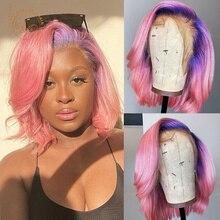 Парик из натуральных волос с эффектом омбре, с Короткими Кружевными передними волосами, 13 х4 цветов, с 2 оттенками