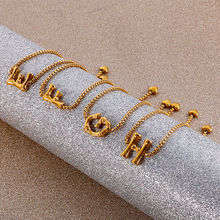 Women A-Z 26 Letters Initial Bracelet Gold Charm Pendant Bangle Adjustable Stainless Steel New Fashion Jewelry