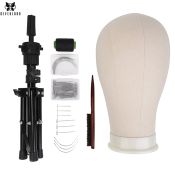 23''Training Mannequin Head Canvas Head For Wigs Making Wig Hair Brush With T Pins Needles Set With Tripod Wig Stand