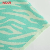 Tangada Women's Summer Dress Zebra Knit Midi Dress Strap Backless Bow 2021 Fashion Lady Dresses 3H764 4