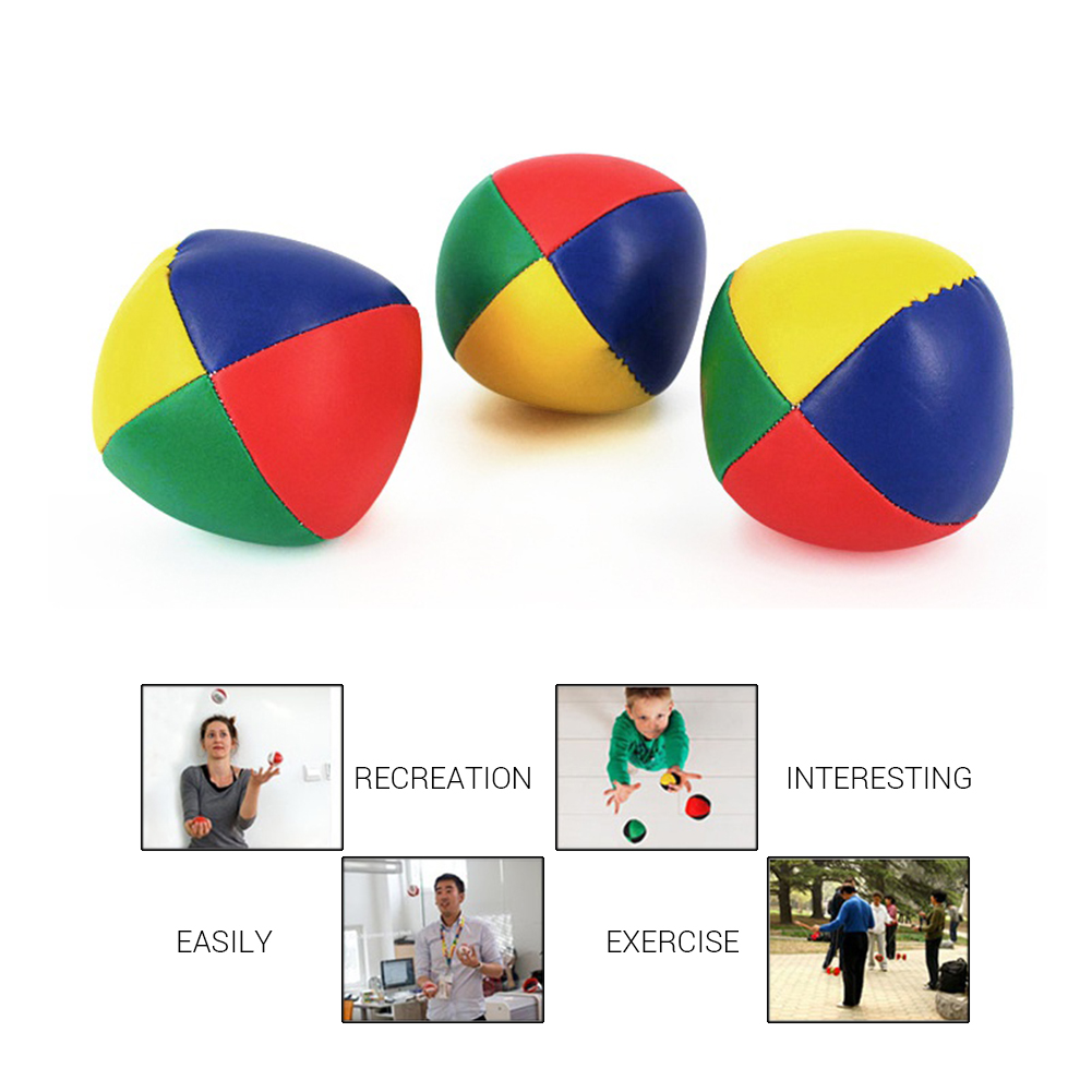 Kid'S Outdoor Sport Ball 3Pcs Juggling Balls Set Circus Balls With 4 Panel Design For Children And Adults Outdoor Sport Toys