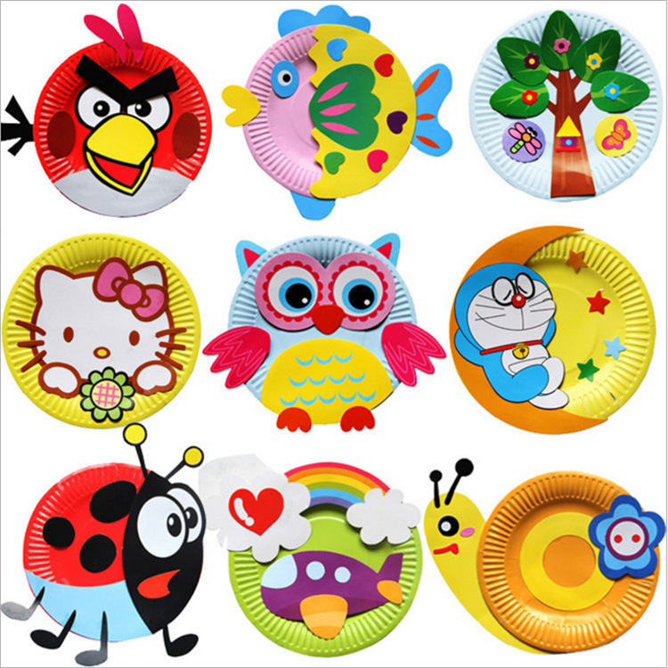 Cartoon Paper Plate Drawing Kindergarten DIY Handmade Material Kit Children Creative Educational Toy Colorful Paper Plate