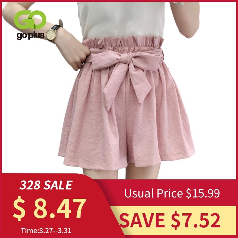 GOPLUS Summer Shorts Women High Waist Solid Shorts Spodenki Damskie Elastic Beach Bow Tie Casual Loose Shorts Womens C7497