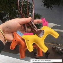 2020 Famous Luxury Handmade PU Leather Horse Keychain Animal Key Chain Women Bag Charm Pendant Accessories Fashion Jewelry new diamond horse keychain girls cute pu leather bag ornaments animal key chains bag pendant bag charm accessories