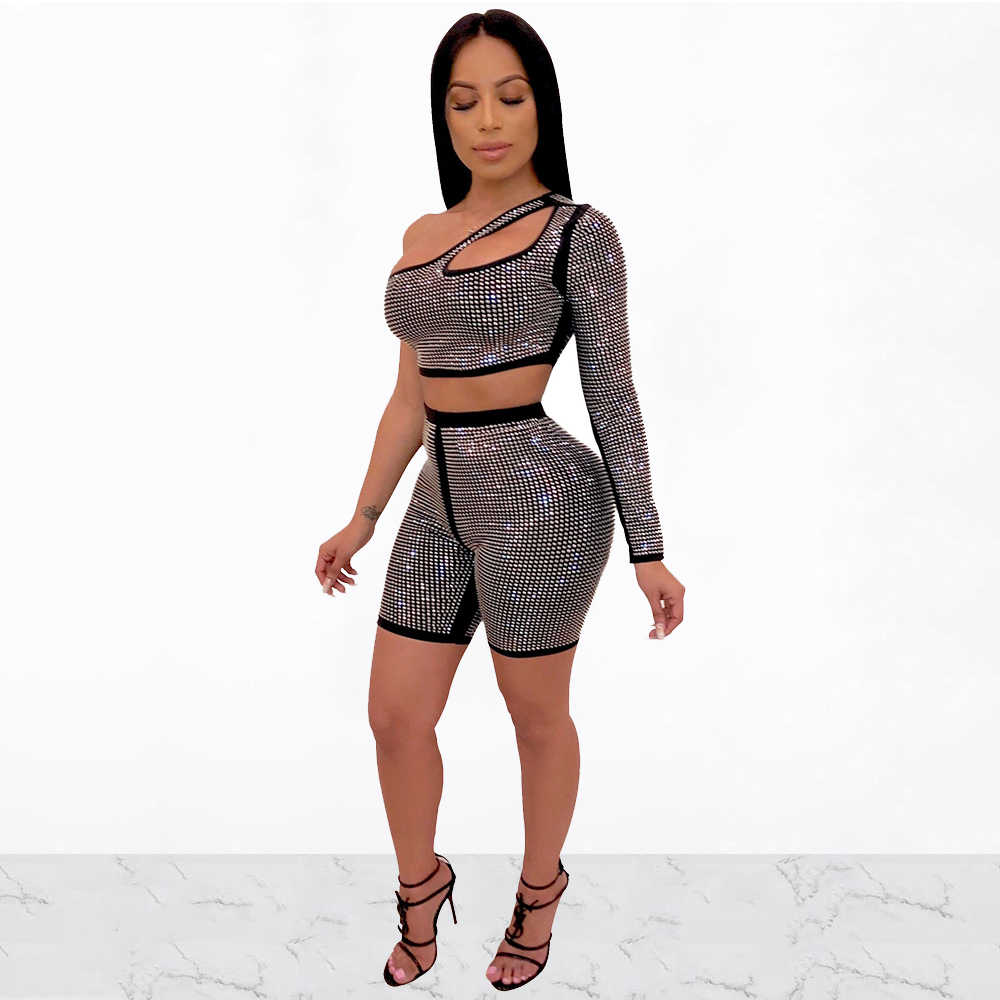 Women Sequined Diamonds Spliced 2 Piece Set Sexy One Shoulder Cut Out Crop Tops + Skinny Shorts Summer Street Club Party Outfits