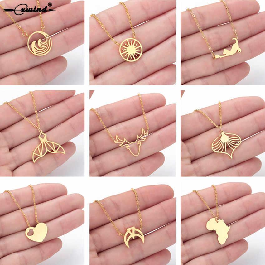 Cxwind Нержавеющаясталь солнце ожерелье оригами хвост одежда с изображением сердца, кота, океан цепочка «Волна» колье ожерелья, подвески Женские Простые kolye подарок