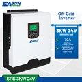 Источник питания EASUN 3000 Вт Чистый синусоидальный Soalr инвертор В переменного тока 24 В 50 Гц/60 Гц ва ШИМ 70 А инвертор тока заряда батареи