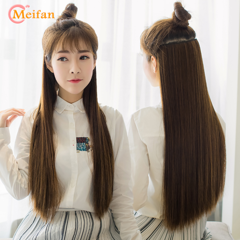 MEIFAN 60CM Black Brown High Tempreture Synthetic Hair Piece For Women Long Natural Silky Straight 5 Clip In Hair Extensions