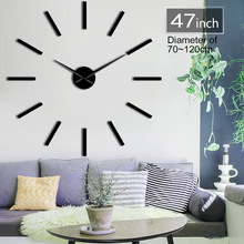 Big size 70-120cm wall clock DIY Acrylic Mirror Gold Silver Clock Living room decoration self-adhesive sticker