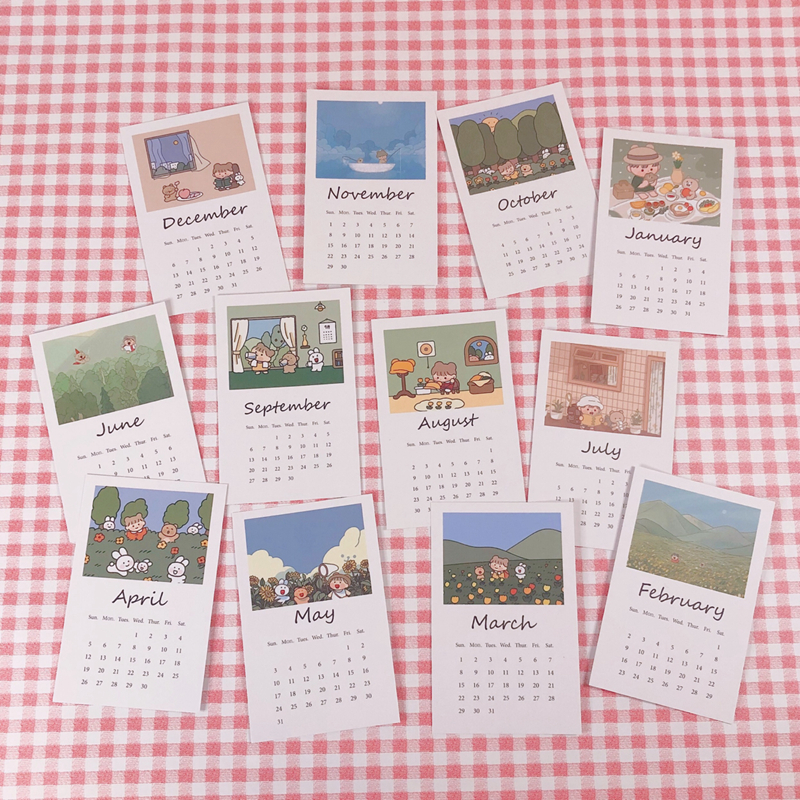 TMYOUZ 2020 Little Bear Monthly Calendar Postcard Cute Cartoon Wall Decoration Sticker Calendar Posing Props Children Gifts