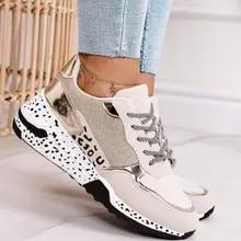 Sapatilhas femininas sapatos de desporto de plataforma de renda para mulher respirável tênis de senhoras de impressão de leopardo sapatos vulcanize femininos