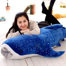 Tiburón de peluche de tamaño grande, 150cm, grande, creativo, ballena azul, tiburón suave, pez de mar, almohada de felpa, muñeca bebé para niños