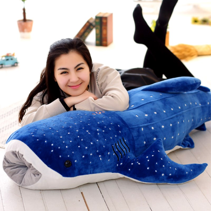 150cm Large Size Soft Shark <font><b>Plush</b></font> Toy <font><b>Big</b></font> Creative Blue <font><b>Whale</b></font> Stuffed Soft Shark Sea Fish <font><b>Plush</b></font> Pillow Lovely Children Baby Doll image