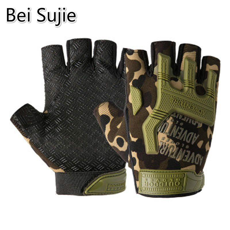Bei Sujie Men Outdoor Half Finger Gloves Soft Protective Rubber Pad Sports Army Military Tactical Airsoft Hunting Shooting
