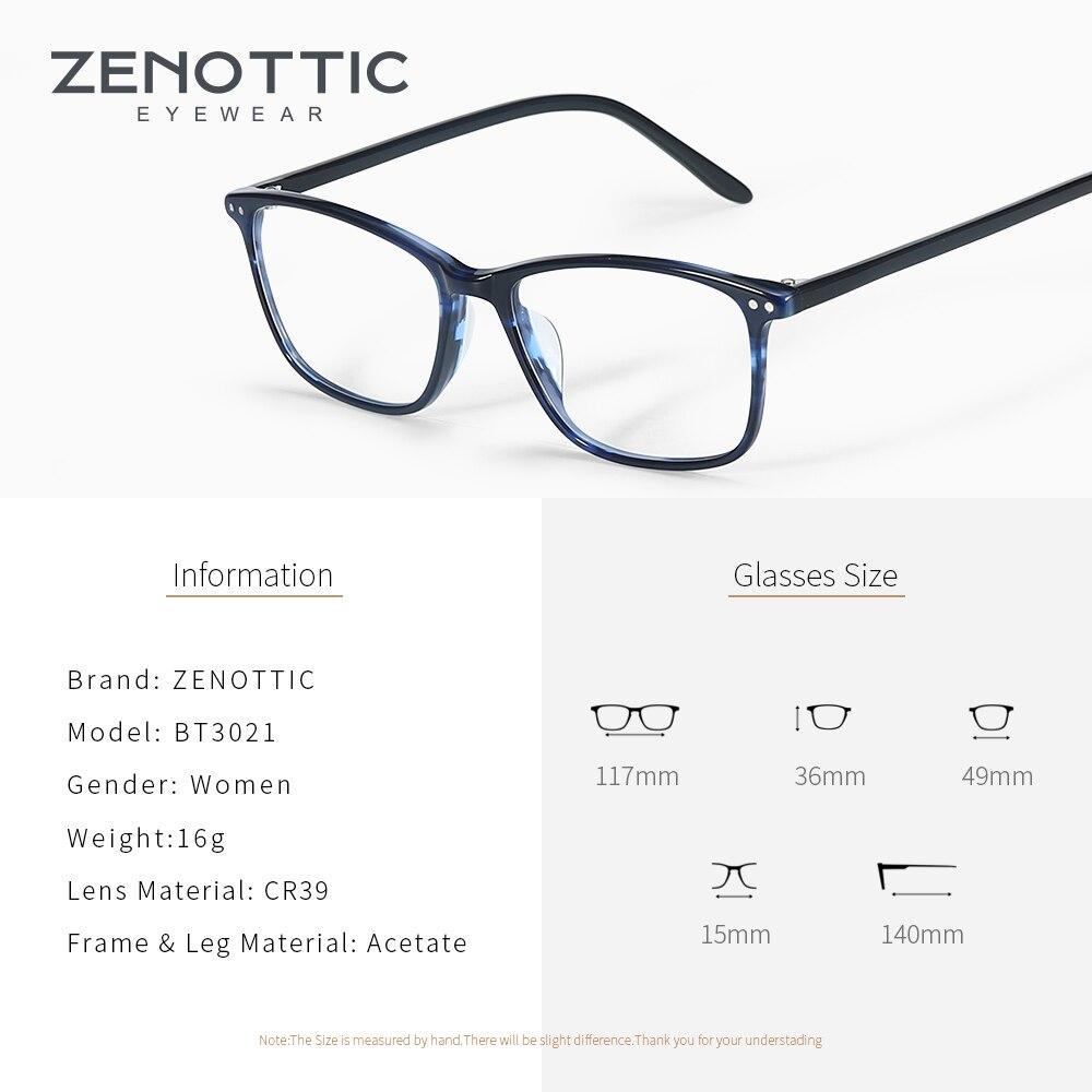 Image 4 - ZENOTTIC Acetate Women Glasses Frame Optical Spectacles Eyeglasses Fashion Design Myopia Glasses Eyewear BT3021Womens Eyewear Frames   -