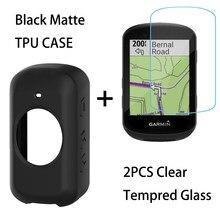 Para garmin edge 830 530 1030 130 além disso gps bicicleta antiderrapante-knock sílica gel caso + 2 pçs claro protetor de tela de vidro temperado
