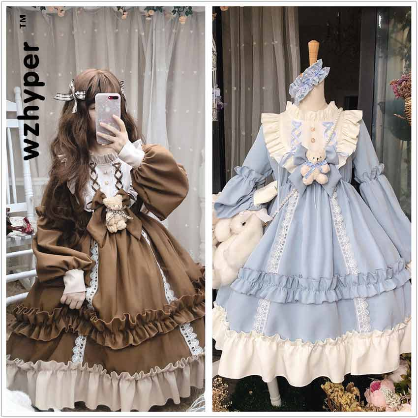 New Arrival Gothic Lolita Dress Soft Sisiter Bow Bear Lace Red Blue Pink Dress Women Princess Dress Halloween Costume For Girls