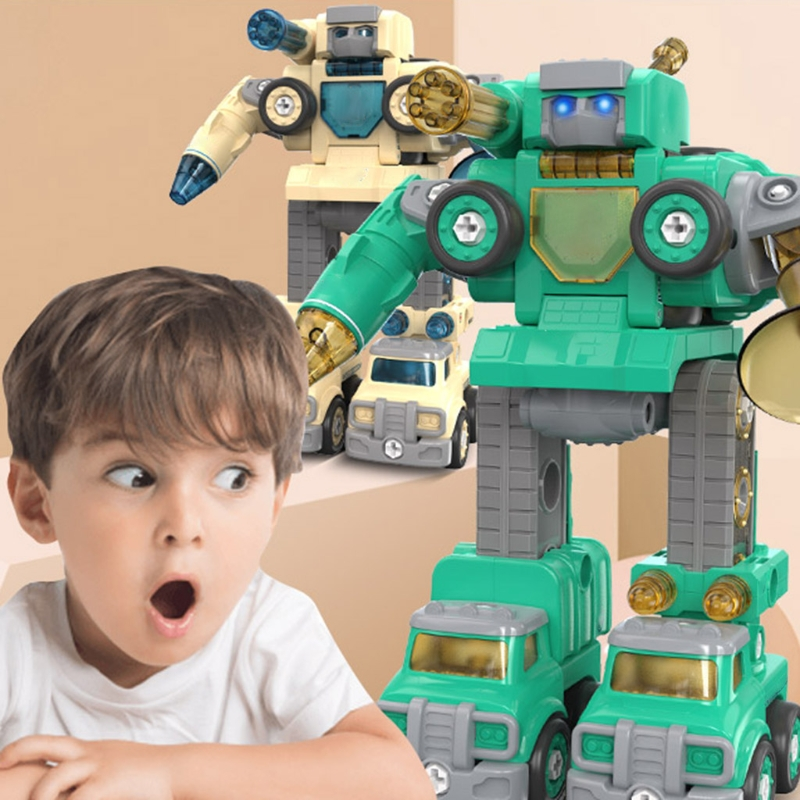 Deformed Autobot Children DIY Disassembly Toy Assembling Car Educational Screw Building Block Toy for Kids Boys Vehicle