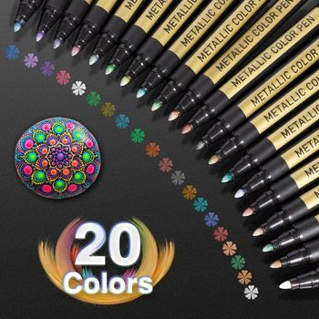 10/20 Color Metallic Paint Marker Pen Permanent Writing Rock Painting Photo Album Scrapbook Glass Wood Canvas Card Art marker 1