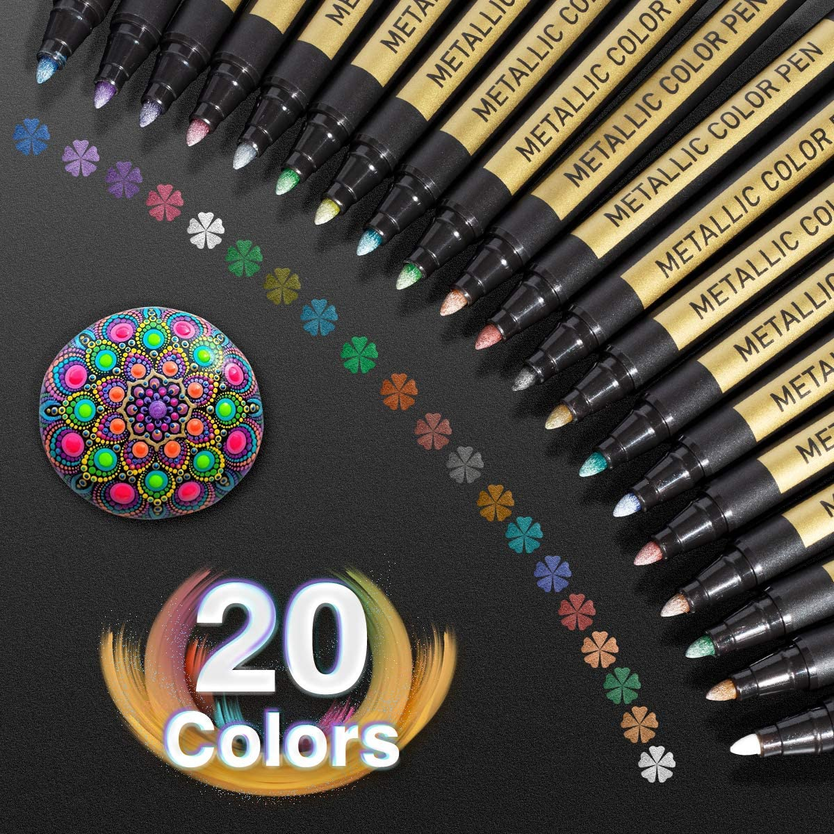 10/20 farbe Metallic Farbe Marker Pen Permanent Schreiben Rock Malerei Foto Album Sammelalbum Glas Holz Leinwand Karte Art marker
