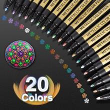 10/20 pennarello per vernice metallizzata a colori scrittura permanente pittura su roccia Album fotografico Scrapbook vetro legno tela carta Art Marker