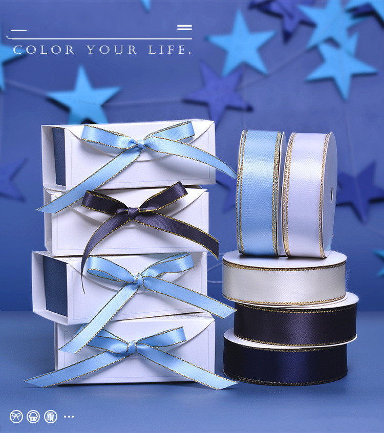 100yards/roll 6mm/9mm/16mm/22mm/25mm/38mm Satin Gold Edge Ribbon Gift Wrapping Ribbons DIY Decorative Holiday Party Webbing