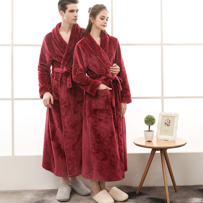 Men Winter Plus Size Long Cozy Flannel Bathrobe Kimono Warm Coral Fleece Bath Robe Night Fur Robes Dressing Gown Women Sleepwear