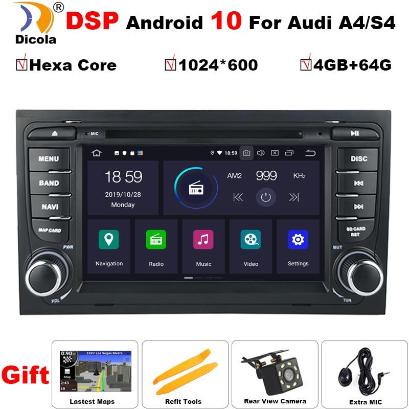 DSP PX6 4 + 64G 2 Din 7 ''IPS Android 10 rdzeń Hexa Radio GPS samochodowy odtwarzacz DVD odtwarzacz dla Audi A4 S4 2002-2006 2007 2008 SEAT Exeo 2008-2012