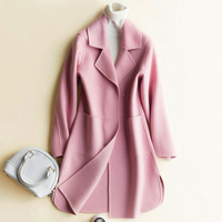 Autumn winter new age double sided cashmere coat womens medium long woolen jacket Slim 100% wool coats women's clothing