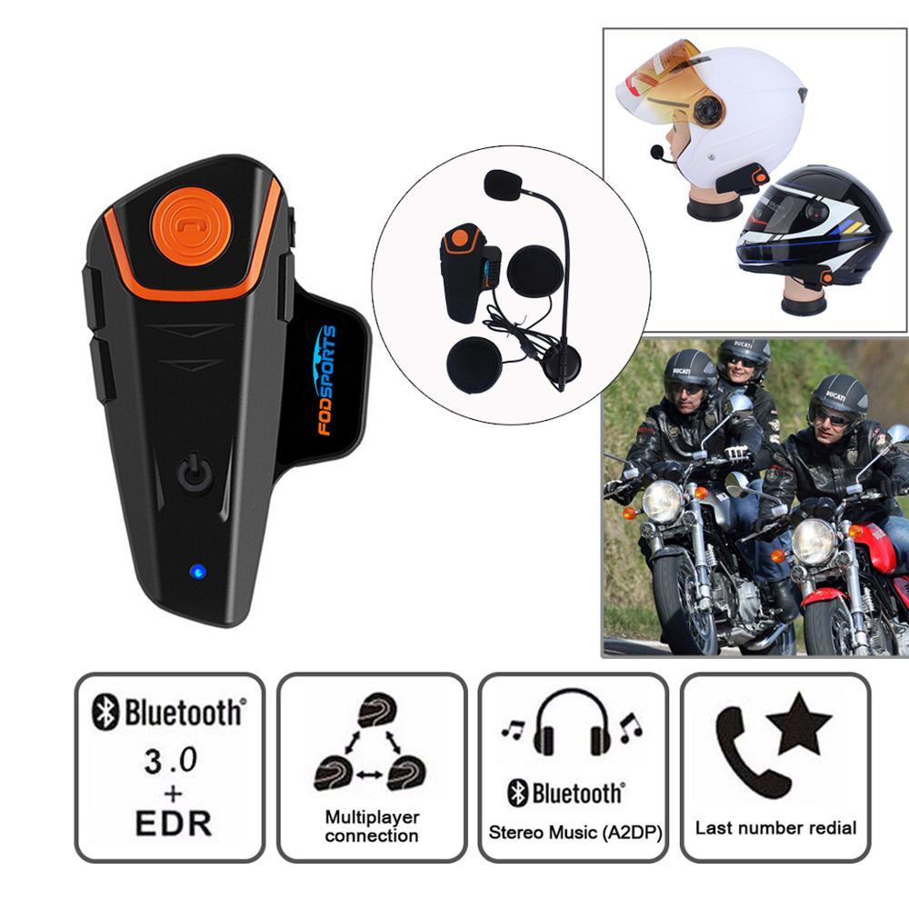 Fodsports BT-S2 Pro Motorcycle Intercom Helmet Headset Wireless Bluetooth Interphone Waterproof FM Radio 7 Languages Manual