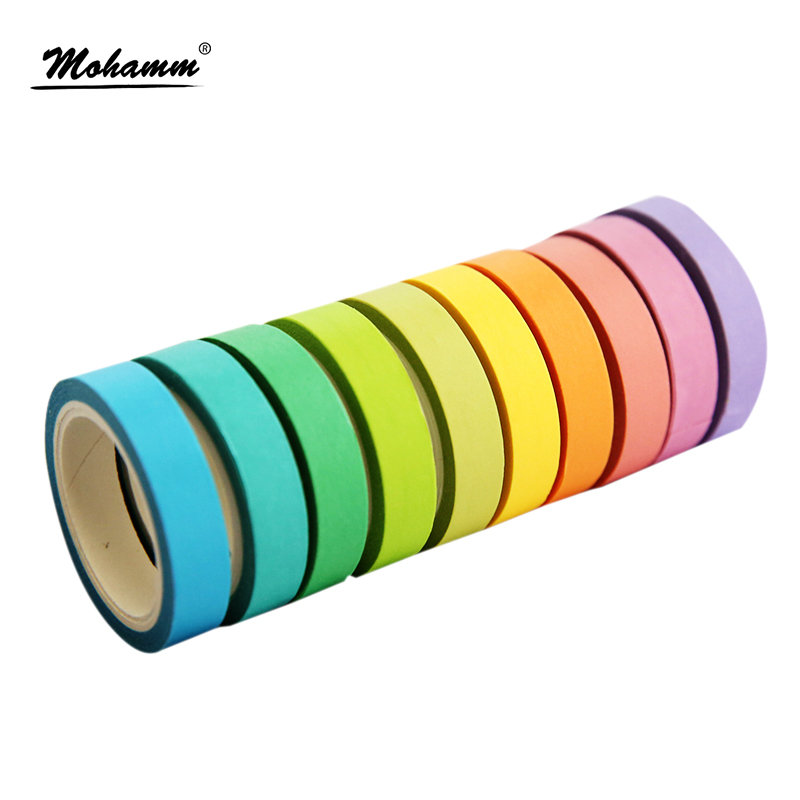 10 Pcs/box Rainbow Solid Color Japanese Masking Washi Sticky Paper Tape Adhesive Printing DIY Scrapbooking Deco Washi Tape Lot