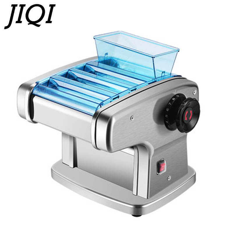 JIQI Stainless Steel Electric Pasta Maker Cutting Slicer Dumplings Noodle Pressing Machine Spaghetti Roller Hanger Dough Cutter