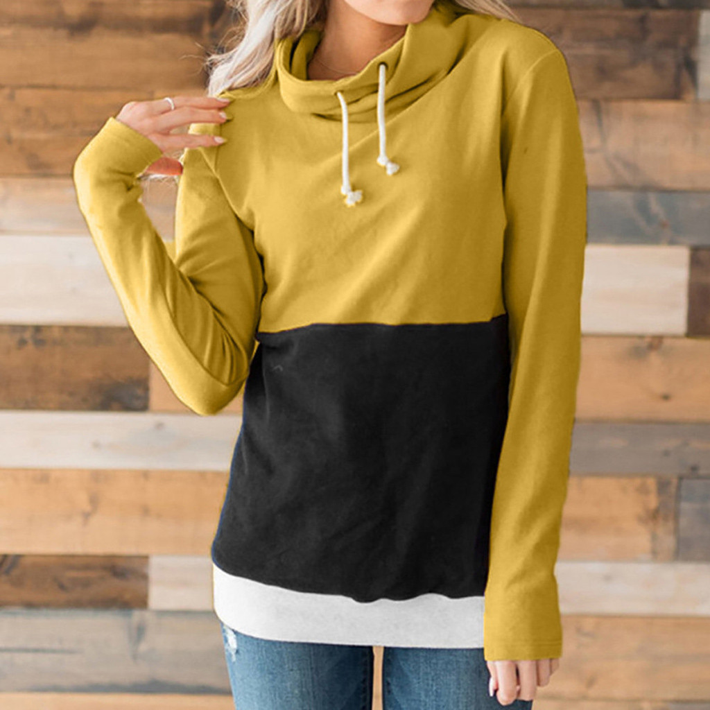 Streetwear Hoodie Women Casual Patchwork Sweatshirt Ladies Long Sleeve Jumper Outdoor Sport Pullover Comfortable Material#3