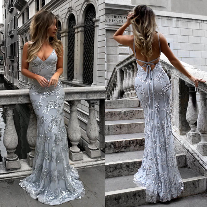 BacklakeGirls 2019 Sexy V Neck Sequined Cross Criss Back Evening Dresses Vestido Sirena Largo Women Sleeveless Bodycon Dress