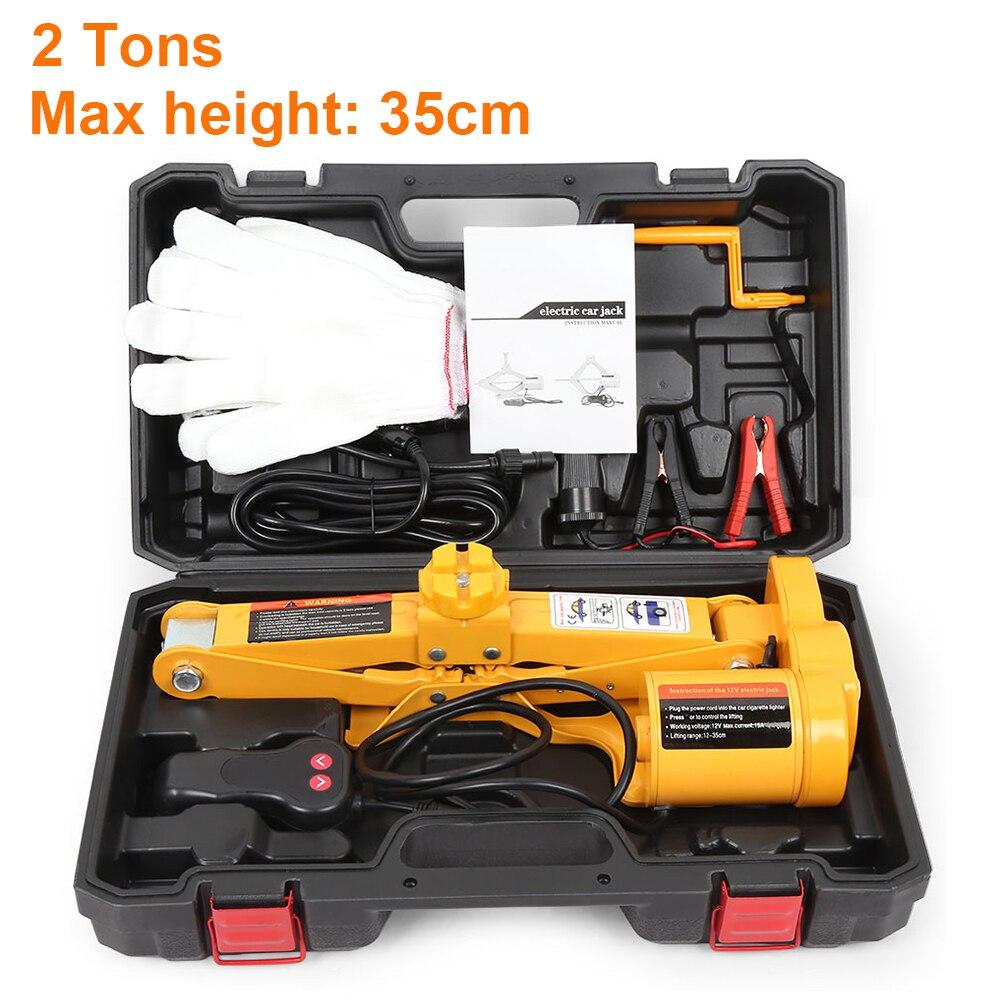 12V 100W 2T Car Jacks Auto Electric Hydraulic Lifting Jack Car Lift Scissor Tire Repair Tool with Socket Adapter Screwdriver Kit