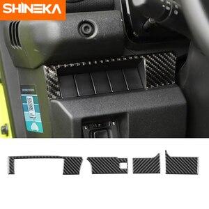 Car Interior Accessories for Suzuki Jimny 2019+ 4pcs Soft Carbon Fiber Center Console Decorative Strip Sticker for Suzuki Jimny(China)