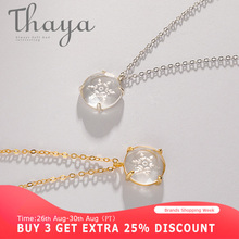 Thaya Snow Flower Carved Pendant Necklace s925 Silver Edelweiss Crystal Elegant Friendship Charm for Women Simple Dainty Jewelry