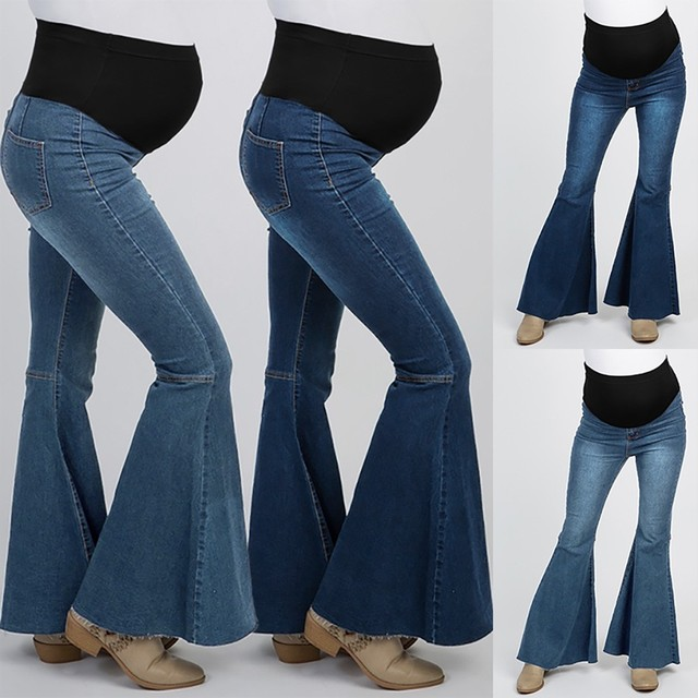 Saturday-Night-Maternity Jeans high waist flare pants jeans washed denim fabric jeans брюки 40*