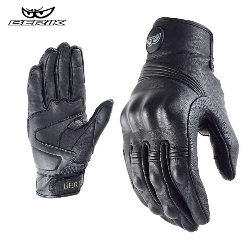 BERIK Motorcycle Gloves Leather Men Moto Racing Gloves 100% Real Leather Bicycle Cycling Motorbike Motocross Riding Glove Summer